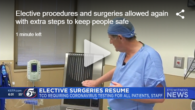 Minnesota Orthopedic Center using Illuvia HUAIRS® to kill viruses in operating rooms as elective procedures resume.